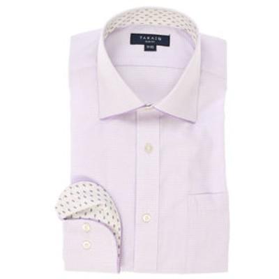 形態安定スリムフィット ワイドカラーパイピング長袖ビジネスドレスシャツ