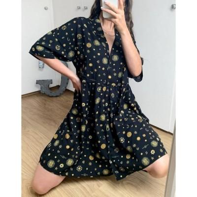 ノイジーメイ レディース ワンピース トップス Noisy May shirt dress with zodiac print in black