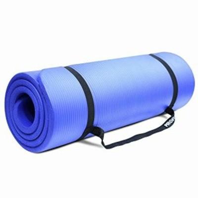 PROIRON ストレッチ マットフィットネスマット超極厚15mm 高密度 NBR (ニトリルゴム) ストラップ付き (180cm×61cm×15mm ブルー)
