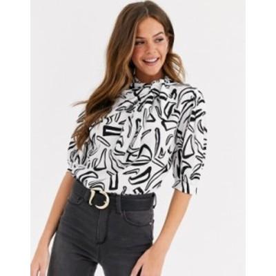 エイソス レディース シャツ トップス ASOS DESIGN short sleeve top with asymetric neck tie in abstract print Multi