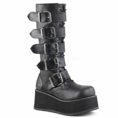 取寄 靴 DEMONIA デモニア ロングブーツ メンズ 黒 ブラック つや消し合皮 大きいサイズあり 22.5 23 23.5 24 24.5 25 25.5 26 26.5 27 2