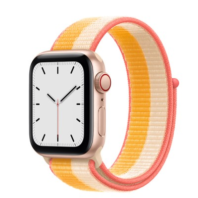 Apple Watch SE(GPS + Cellularモデル)- 40mmゴールドアルミニウムケースとメイズ/ホワイトスポーツループ - MKQY3J/A