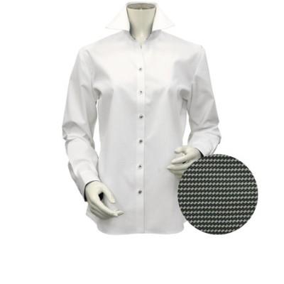 レディース ウィメンズシャツ 長袖 形態安定 スキッパー衿 白×織柄 (透け防止)