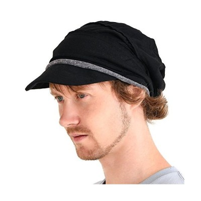 CHARM Mens Slouch Beanie Womens Slouchy Hat Peak Cap Breathable Summer Winter Japanese Fashion Black【並行輸入品】