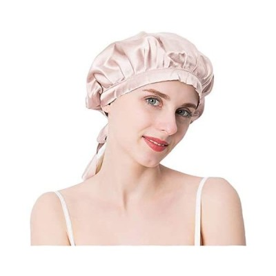 Everkeen ナイトキャップ シルク100% サイズ調節可能 就寝用帽子 睡眠改善 保湿美髪 ナイトヘアキャップ (ピンク)