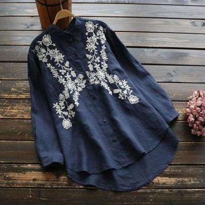 シャツ ブラウス 春秋 花柄刺繍 ノーカラー 長袖 トップス レディースj65456
