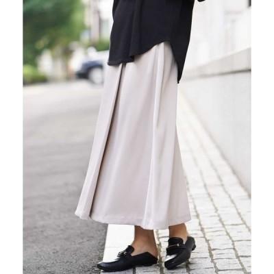 スカート サテンアシメタックフレアスカート