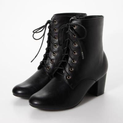 シューファンタジー Shoe Fantasy ラウンドトゥ編み上げショートブーツ (black)