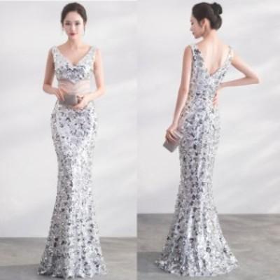 大きいサイズ ロングドレス 結婚式 お呼ばれ ドレス パーティードレス マキシ丈 ワンピース マーメイドドレス