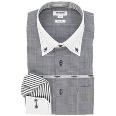 イージーケア スリムフィット ボタンダウンクレリック長袖ビジネスドレスシャツ/ワイシャツ