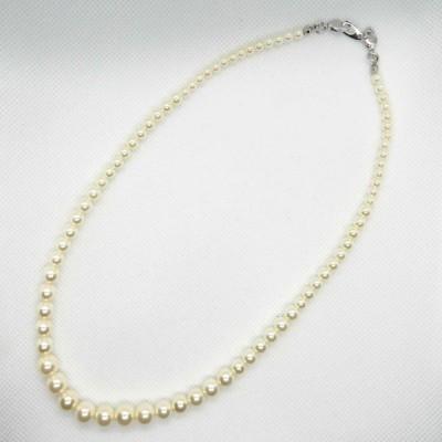 セルフアレンジ白ガラスパール1連グラデーション(竹の子)ネックレス40cm銀色金具