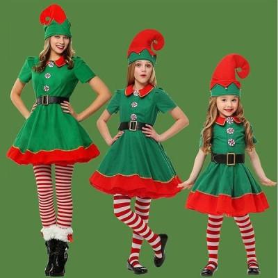 レディース キッズ クリスマス ツリーコス コスプレ衣装 親子姉妹コーデ お揃い ワンピース グリーン スカート サンタ イベント ステージ 女の子