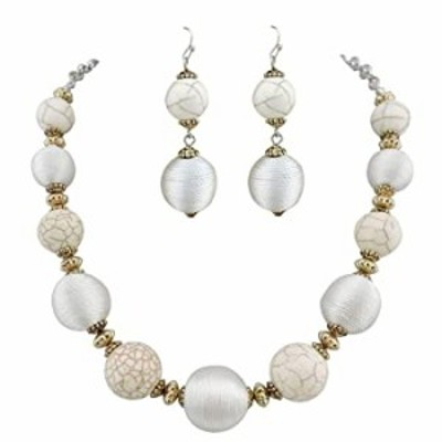 COIRIS Simulated Turquoise Beads Strand Statement Necklace For Women with Earrings (White)