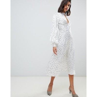 エイソス レディース ワンピース トップス ASOS DESIGN high neck twist front 70s sleeve midi dress in spot Multi
