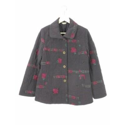 【中古】三年坂 サンネンザカ 縮緬 ちりめん 中綿 ジャケット コート アウター M 紫 パープル レディース