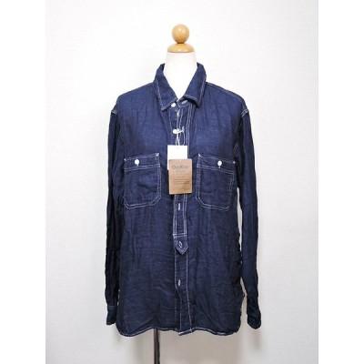 OSHKOSH コットン100% メンズデニムシャツ L XL 無地シャツ 長袖 ネイビー 紺