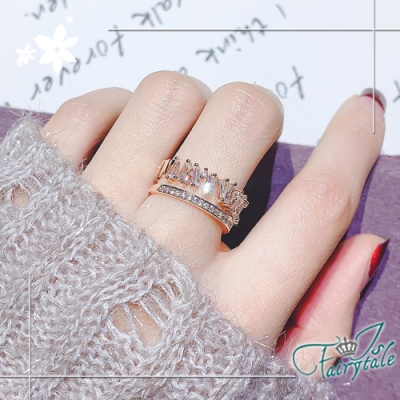 iSFairytale伊飾童話 愛的頻率 寬版鋯石玫瑰金開口戒指 13號