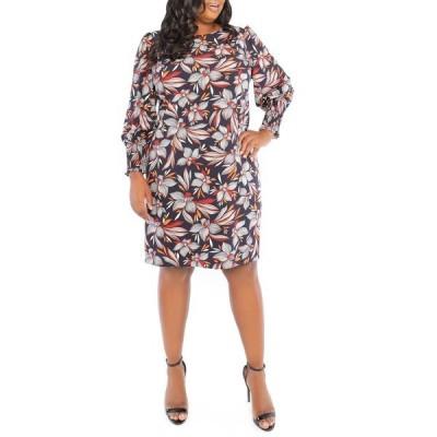 ロンドンタイムス レディース ワンピース トップス Smocked Cuff Feather Floral Print Puff Sleeve Dress NAVY/ORG