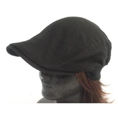 コットンスウェットハンチング 黒 薄手帽子