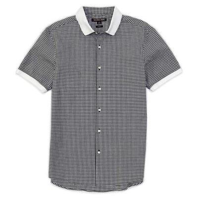 マイケルコース メンズ シャツ トップス Slim-Fit Gingham Stretch Short-Sleeve Woven Shirt Black