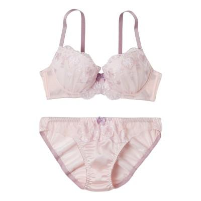 ハートリボン刺しゅうブラジャー・ショーツセット(F75/L) (ブラジャー&ショーツセット)Bras & Panties
