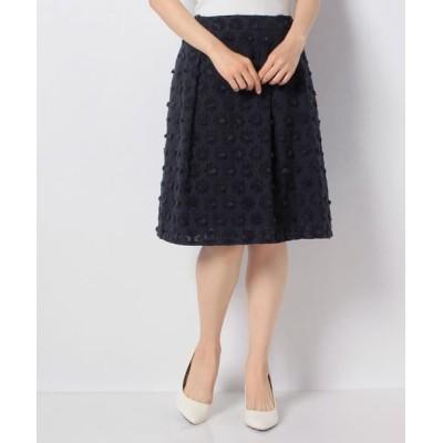 MISS J/ミス ジェイ フラワーカットジャカードスカート ネイビー 40