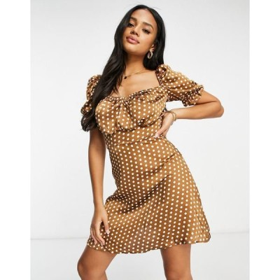 ナーナー レディース ワンピース トップス NaaNaa polka dot puff sleeve satin dress in brown Brown