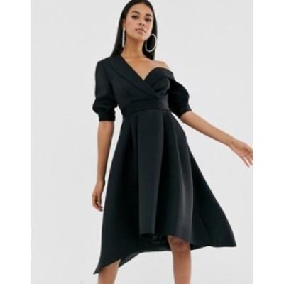 エイソス レディース ワンピース トップス ASOS DESIGN Fallen shoulder tux prom midi dress Black