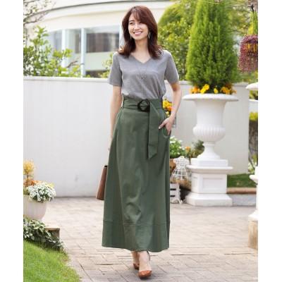 【洗える】大人上品な、変形バックルロングスカート