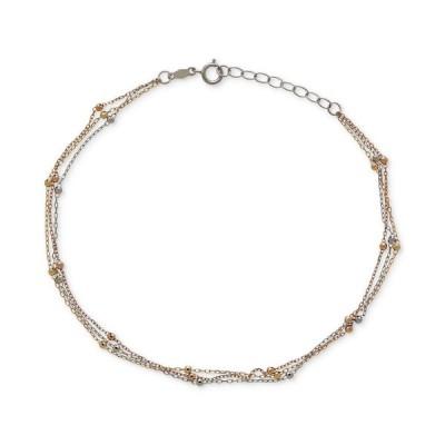 メイシーズ Macy's ユニセックス ブレスレット ジュエリー・アクセサリー Tri-Tone Beaded Ankle Bracelet in 14k WhiteYellow and Rose Gold Tri-Tone