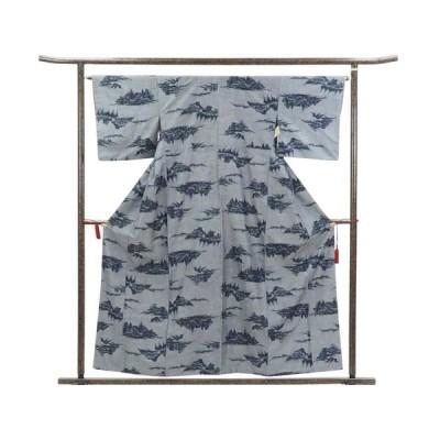 リサイクル着物 紬 正絹グレー地袷紬着物