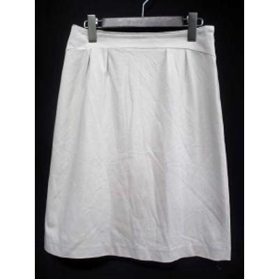 【中古】スーナウーナ Sunauna スカート 38 M 灰 グレー コットン 膝丈 無地 シンプル タック Ω レディース