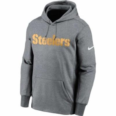 ナイキ Nike メンズ パーカー トップス Pittsburgh Steelers Sideline Therma-FIT Wordmark Grey Pullover Hoodie
