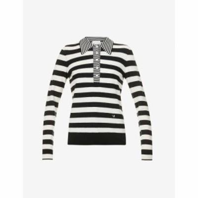 ヴィクトリア ベッカム VICTORIA BECKHAM レディース ポロシャツ Striped Wool And Cashmere-Blend Polo Top