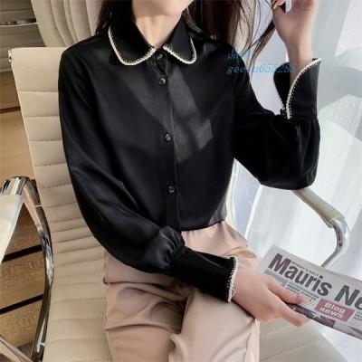 シャツ レディース トップス ブラウス 長袖 襟付きシャツ 黒