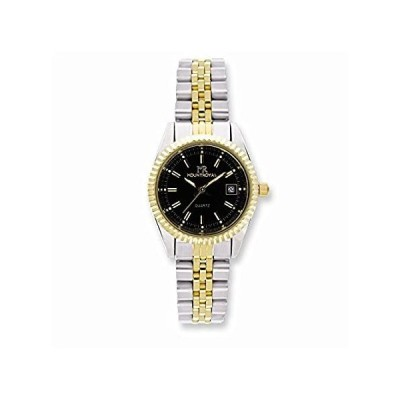 """Sonia Jewels Ladies Mountroyal Two-Tone IP-Plated Black Dial Watch 7.7""""好評販売中"""