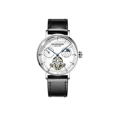 【新品・送料無料】Guanqin メンズ アナログ自動巻き メカニカルスケルトンスチールレザー腕時計 ムーンフェーズ シルバー ホワイト ブラック