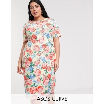 エイソス レディース ワンピース トップス ASOS DESIGN Curve wiggle midi dress in floral print