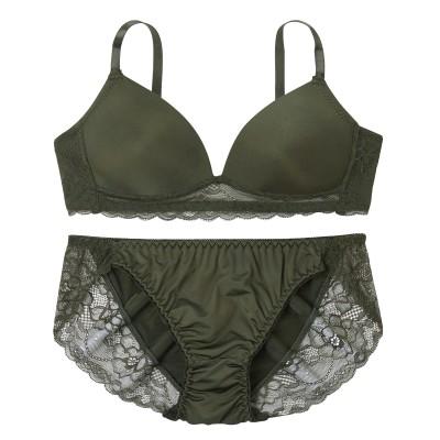 シンプルモールドダークカラー ノンワイヤーブラジャー。ショーツセット(M) (ブラジャー&ショーツセット)Bras & Panties