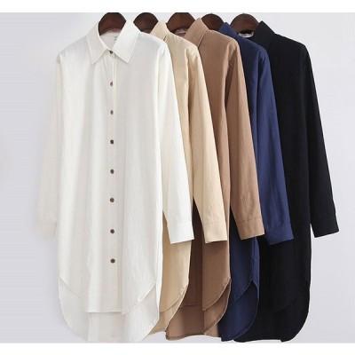 シャツワンピース ロングシャツ レディース 長袖シャツ ゆるシャツ ボタンシャツ シャツワンピース  送料無料