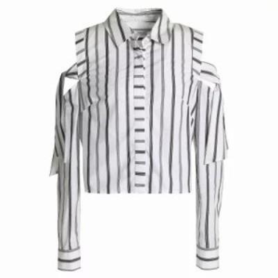ミリー ブラウス・シャツ Riley cold-shoulder striped cotton-poplin shirt White