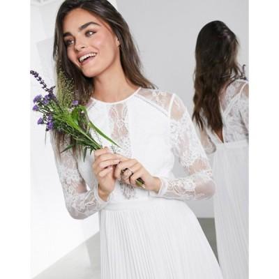 エイソス レディース ワンピース トップス ASOS EDITION Iris long sleeve lace bodice maxi wedding dress with pleated skirt