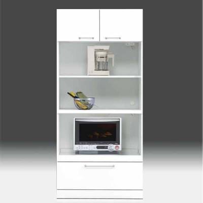 レンジ台 白家具 鏡面 食器棚 レンジボード 日本製 一本立ち完成品 幅80cm 高さ180cm モイス付き 白 ホワイト 鏡面仕上げ GOK m004-csl-thr80