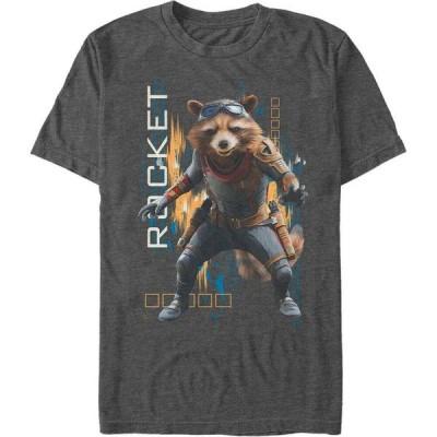 マーベル Marvel メンズ Tシャツ トップス Avengers Endgame Rocket Action Pose, Short Sleeve T-shirt Charcoal H