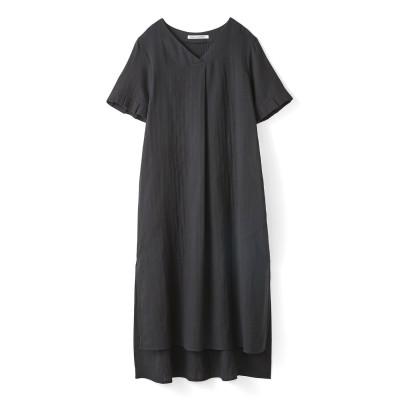 着るほどにやわらかくなじむ 袖タックフリルのダブルガーゼロングチュニック〈ブラック〉 リブ イン コンフォート フェリシモ FELISSIMO