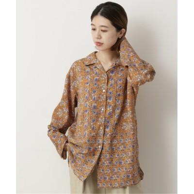 【ミューカ】 ブロックプリント風切り替えシャツ レディース オレンジ系 FREE mjyuka