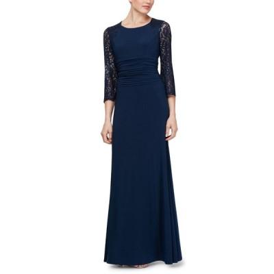 SL ファッションズ SL Fashions レディース パーティードレス ワンピース・ドレス Petite Ruched-Waist Gown Navy