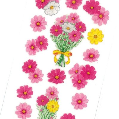 Sticker Fun ラメ入りシール コスモス花束 / 秋柄 花 デコ 軟らかい 厚盛りインク キラキラ 奥山商会 日本製