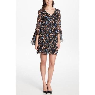 ケンジー レディース ワンピース トップス Floral Bell Sleeve Criss-Cross Back Mini Dress MULTI