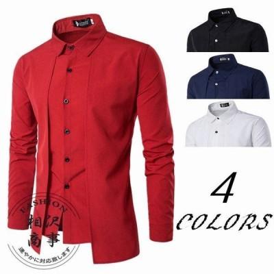 ワイシャツ メンズ 長袖 レギュラーカラーシャツ トップス コーデ カジュアル 春秋 4色選択可